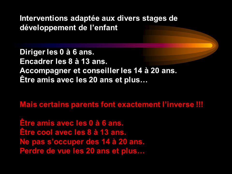 Interventions adaptée aux divers stages de développement de lenfant Diriger les 0 à 6 ans. Encadrer les 8 à 13 ans. Accompagner et conseiller les 14 à