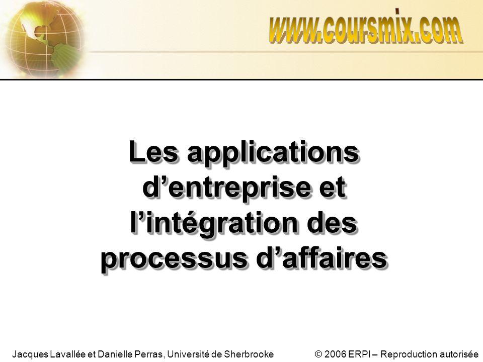 © 2006 ERPI – Reproduction autoriséeJacques Lavallée et Danielle Perras, Université de Sherbrooke Les applications dentreprise et lintégration des pro