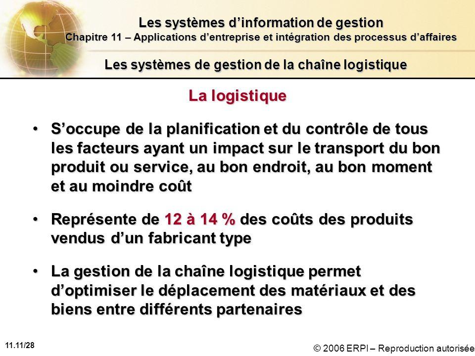 11.11/28 Les systèmes dinformation de gestion Chapitre 11 – Applications dentreprise et intégration des processus daffaires © 2006 ERPI – Reproduction