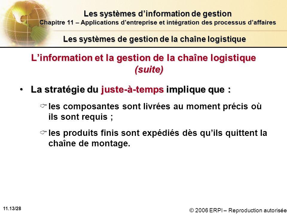 11.13/28 Les systèmes dinformation de gestion Chapitre 11 – Applications dentreprise et intégration des processus daffaires © 2006 ERPI – Reproduction