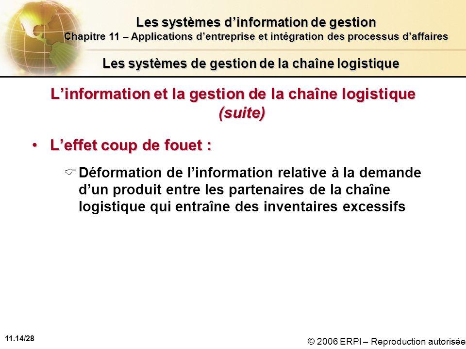 11.14/28 Les systèmes dinformation de gestion Chapitre 11 – Applications dentreprise et intégration des processus daffaires © 2006 ERPI – Reproduction