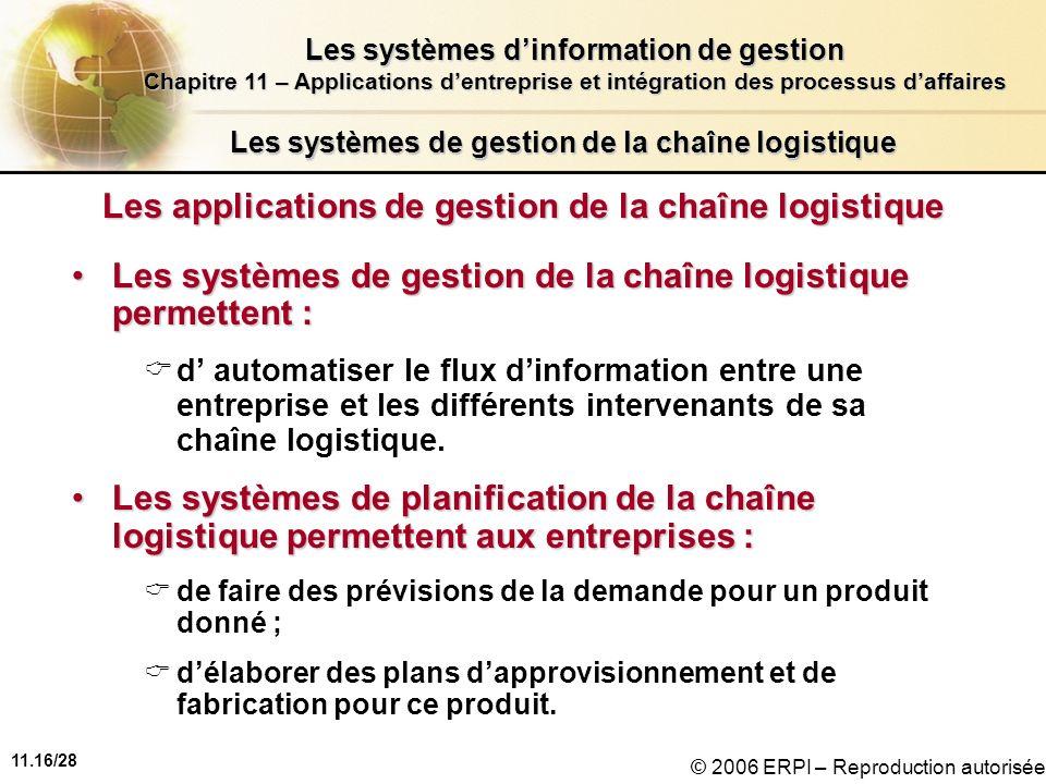 11.16/28 Les systèmes dinformation de gestion Chapitre 11 – Applications dentreprise et intégration des processus daffaires © 2006 ERPI – Reproduction