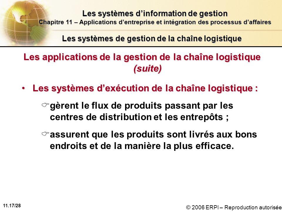 11.17/28 Les systèmes dinformation de gestion Chapitre 11 – Applications dentreprise et intégration des processus daffaires © 2006 ERPI – Reproduction