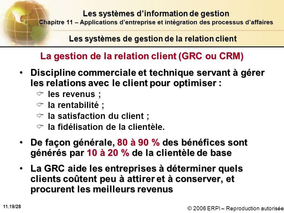 11.19/28 Les systèmes dinformation de gestion Chapitre 11 – Applications dentreprise et intégration des processus daffaires © 2006 ERPI – Reproduction