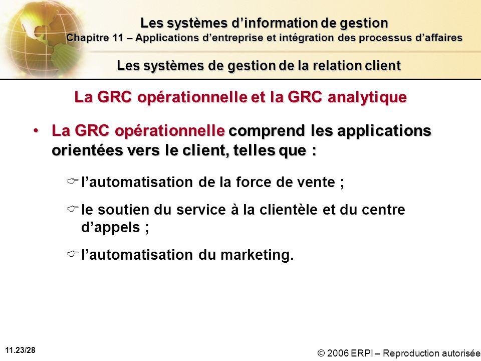 11.23/28 Les systèmes dinformation de gestion Chapitre 11 – Applications dentreprise et intégration des processus daffaires © 2006 ERPI – Reproduction