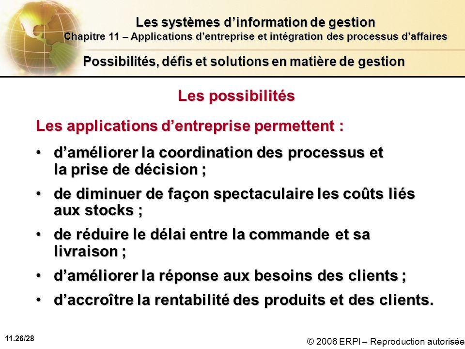11.26/28 Les systèmes dinformation de gestion Chapitre 11 – Applications dentreprise et intégration des processus daffaires © 2006 ERPI – Reproduction