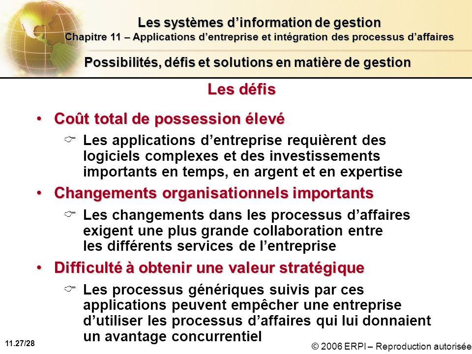 11.27/28 Les systèmes dinformation de gestion Chapitre 11 – Applications dentreprise et intégration des processus daffaires © 2006 ERPI – Reproduction
