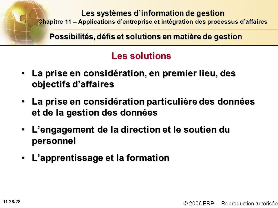 11.28/28 Les systèmes dinformation de gestion Chapitre 11 – Applications dentreprise et intégration des processus daffaires © 2006 ERPI – Reproduction