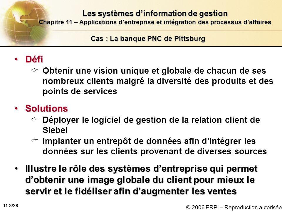 11.3/28 Les systèmes dinformation de gestion Chapitre 11 – Applications dentreprise et intégration des processus daffaires © 2006 ERPI – Reproduction