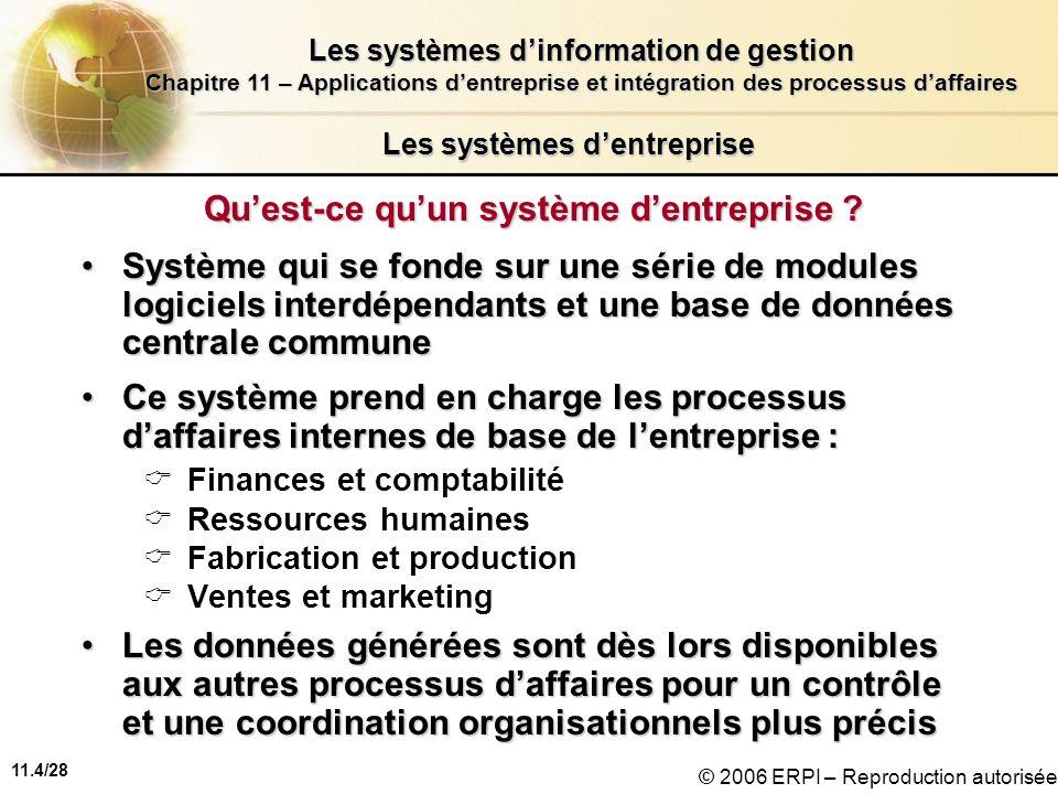 11.4/28 Les systèmes dinformation de gestion Chapitre 11 – Applications dentreprise et intégration des processus daffaires © 2006 ERPI – Reproduction