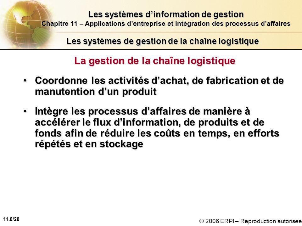 11.8/28 Les systèmes dinformation de gestion Chapitre 11 – Applications dentreprise et intégration des processus daffaires © 2006 ERPI – Reproduction