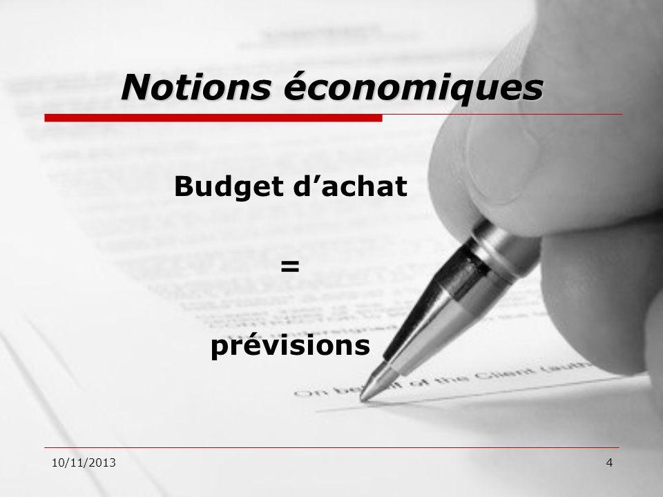 10/11/20134 Notions économiques Budget dachat = prévisions