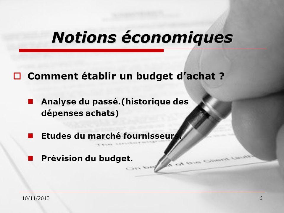 10/11/20136 Comment établir un budget dachat ? Analyse du passé.(historique des dépenses achats) Etudes du marché fournisseurs. Prévision du budget. N