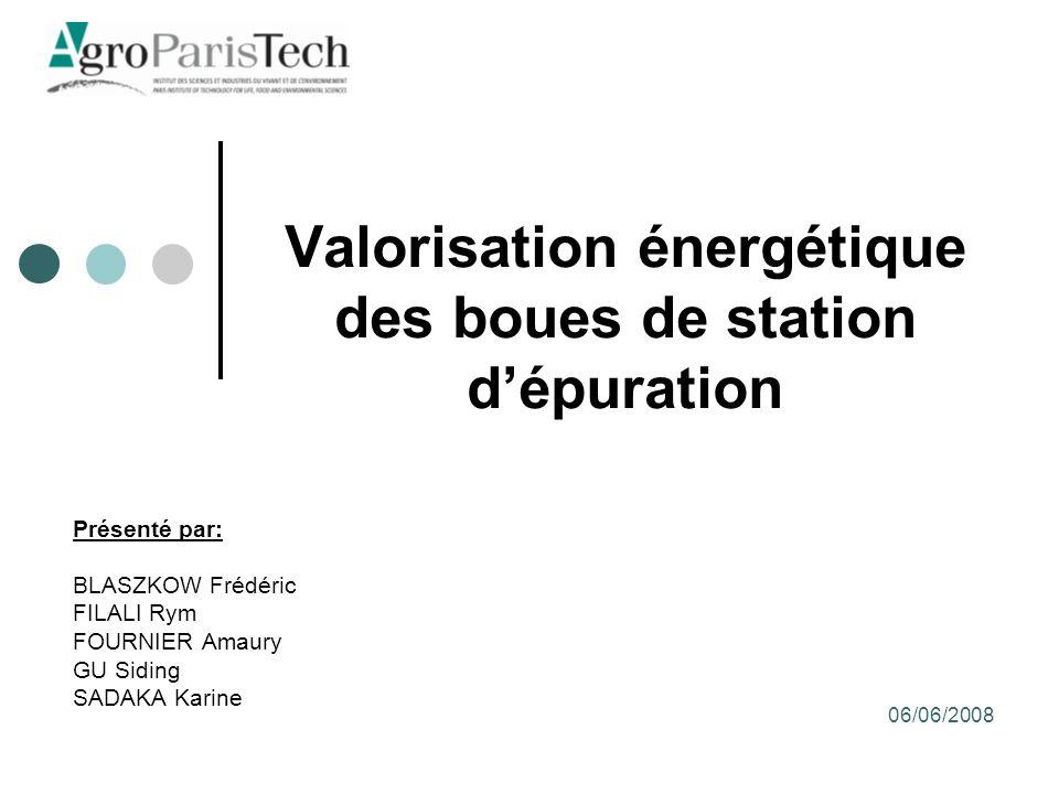 Valorisation énergétique des boues de station dépuration Présenté par: BLASZKOW Frédéric FILALI Rym FOURNIER Amaury GU Siding SADAKA Karine 06/06/2008