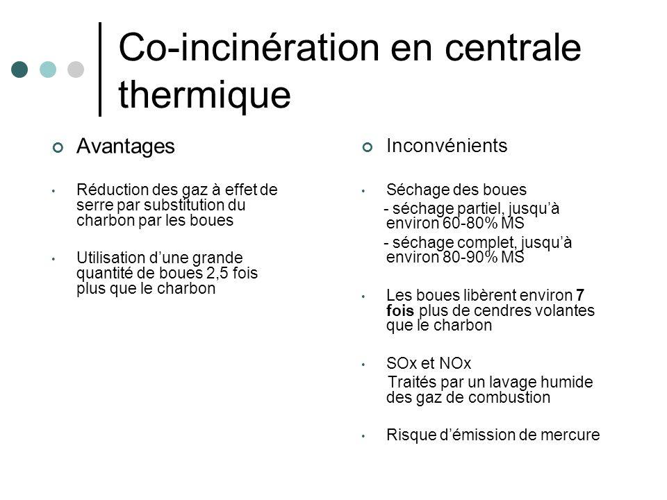 Co-incinération en centrale thermique Inconvénients Séchage des boues - séchage partiel, jusquà environ 60-80% MS - séchage complet, jusquà environ 80