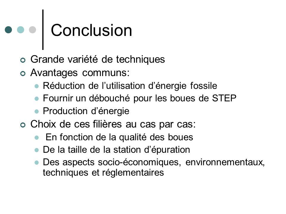Conclusion Grande variété de techniques Avantages communs: Réduction de lutilisation dénergie fossile Fournir un débouché pour les boues de STEP Produ