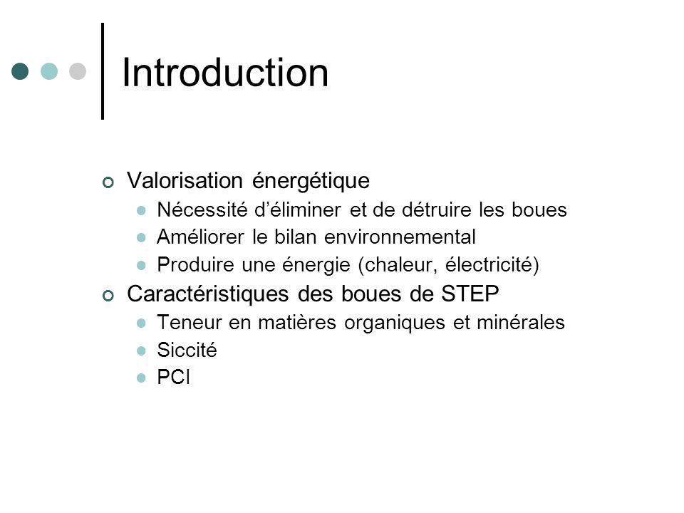 Introduction Valorisation énergétique Nécessité déliminer et de détruire les boues Améliorer le bilan environnemental Produire une énergie (chaleur, é