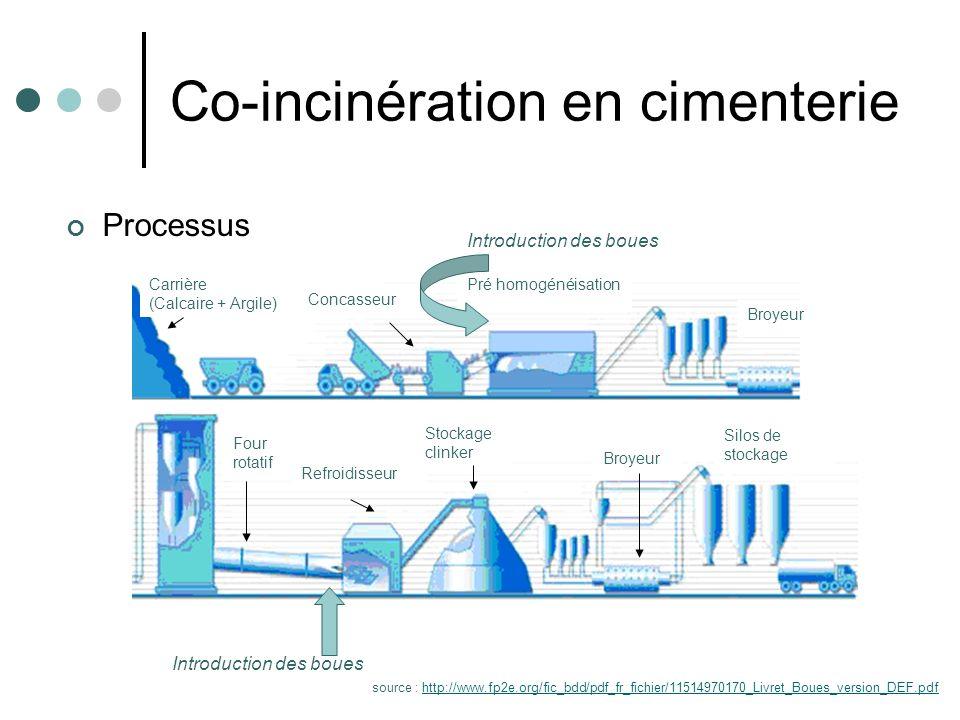 Valorisation énergétique et matière Forte siccité (>90%) Fort PCI (>2000 kW/t) Impact des boues sur le ciment: Présence de chlore (au-delà de 0,02% peut perturber le four) Diminution de la résistance mécanique induite par la présence de phosphore au-delà de 0,5% Les métaux lourds sont adsorbés Co-incinération en cimenterie