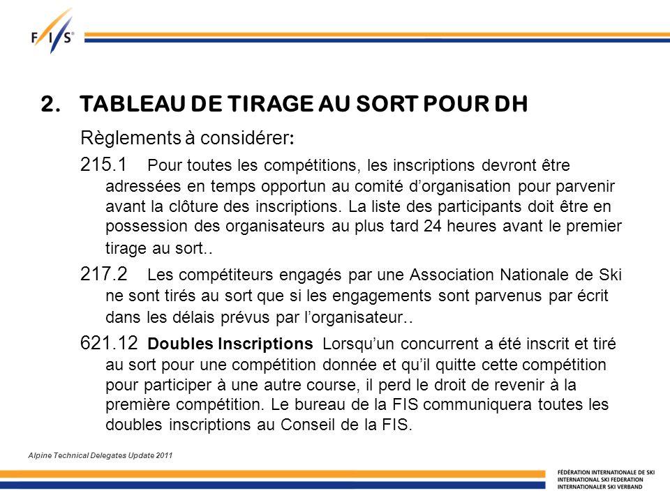 2. TABLEAU DE TIRAGE AU SORT POUR DH Règlements à considérer : 215.1 Pour toutes les compétitions, les inscriptions devront être adressées en temps op