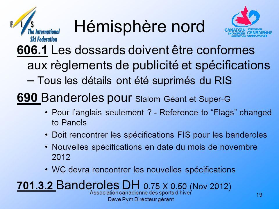 Hémisphère nord 606.1 Les dossards doivent être conformes aux règlements de publicité et spécifications – Tous les détails ont été suprimés du RIS 690 Banderoles pour Slalom Géant et Super-G Pour langlais seulement .