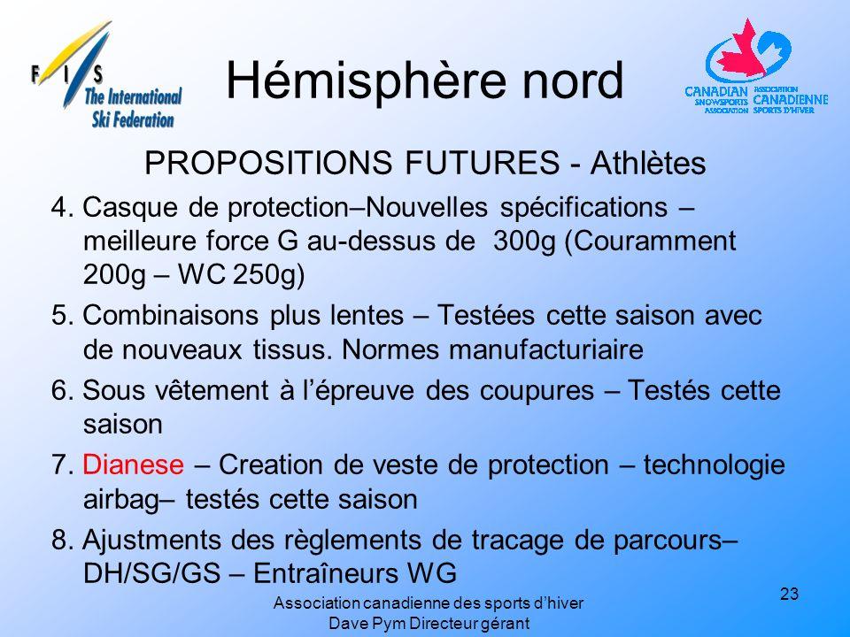 Hémisphère nord PROPOSITIONS FUTURES - Athlètes 4.