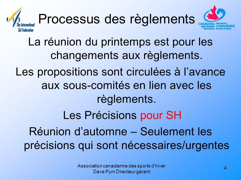 Processus des règlements La réunion du printemps est pour les changements aux règlements.
