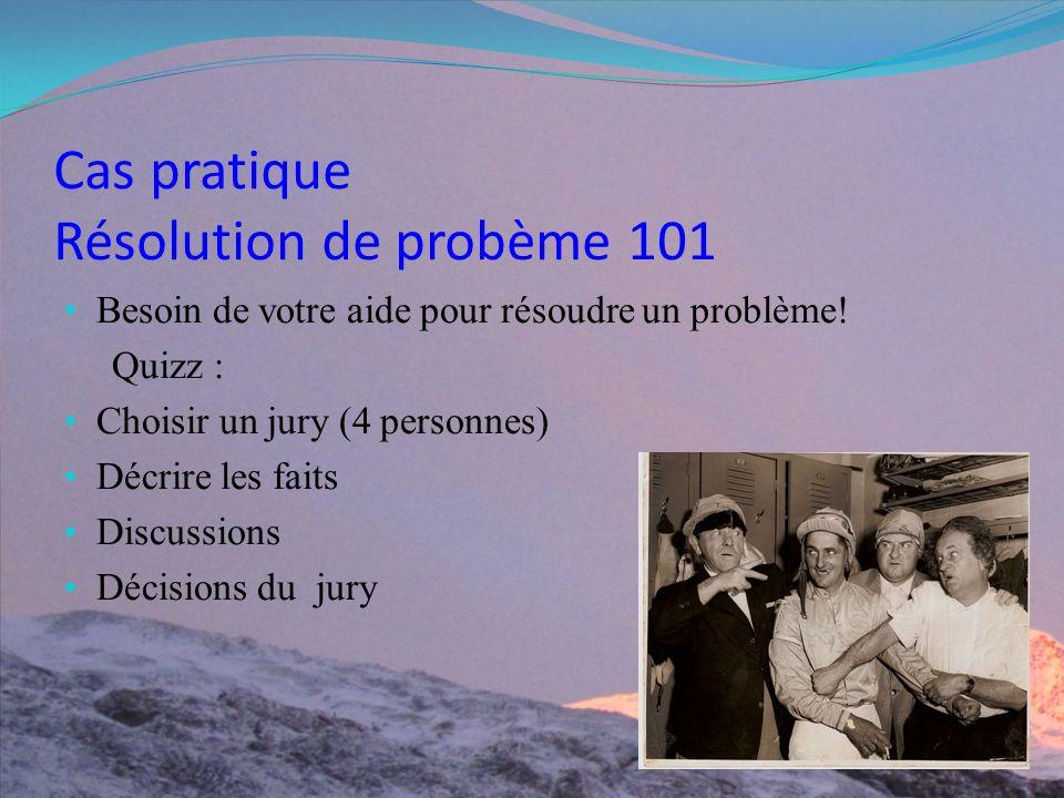 Cas pratique Résolution de probème 101 Besoin de votre aide pour résoudre un problème.