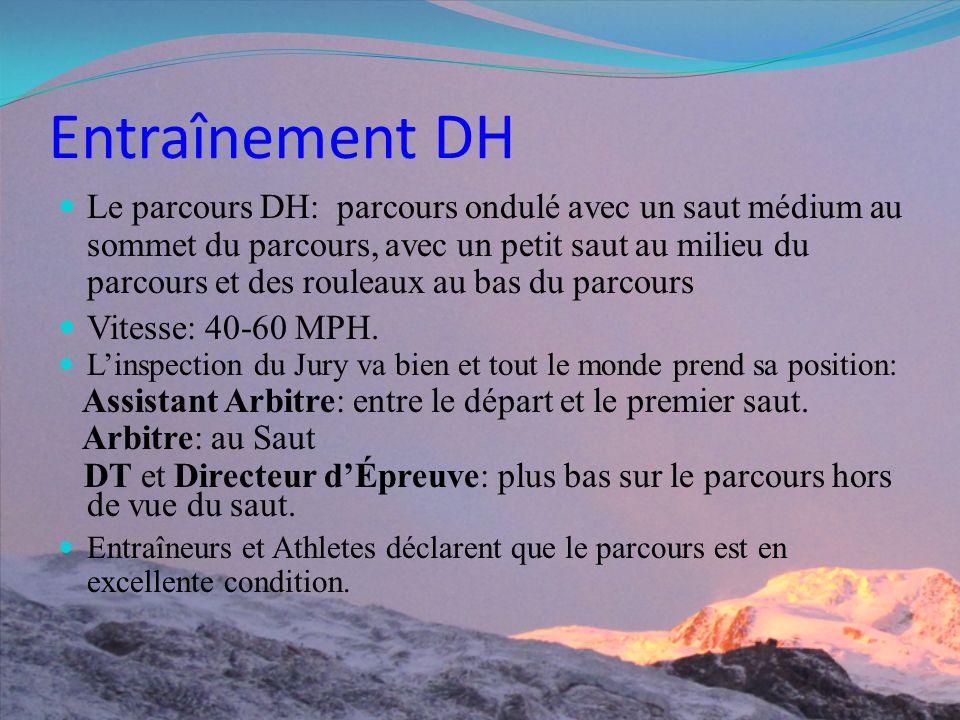 Entraînement DH Le parcours DH: parcours ondulé avec un saut médium au sommet du parcours, avec un petit saut au milieu du parcours et des rouleaux au bas du parcours Vitesse: 40-60 MPH.