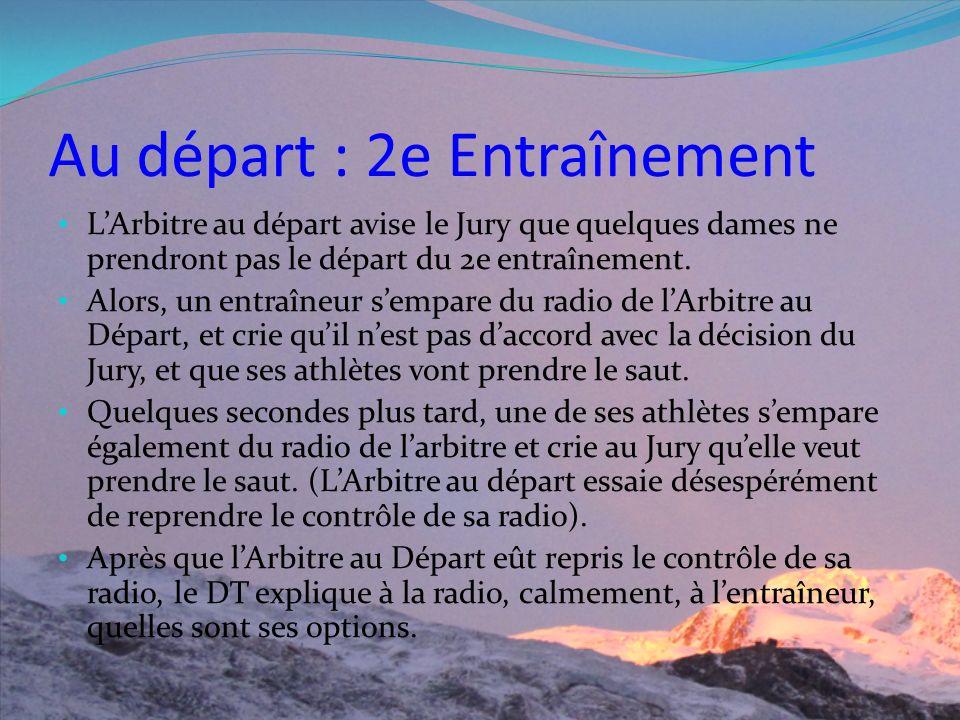 Au départ : 2e Entraînement LArbitre au départ avise le Jury que quelques dames ne prendront pas le départ du 2e entraînement.