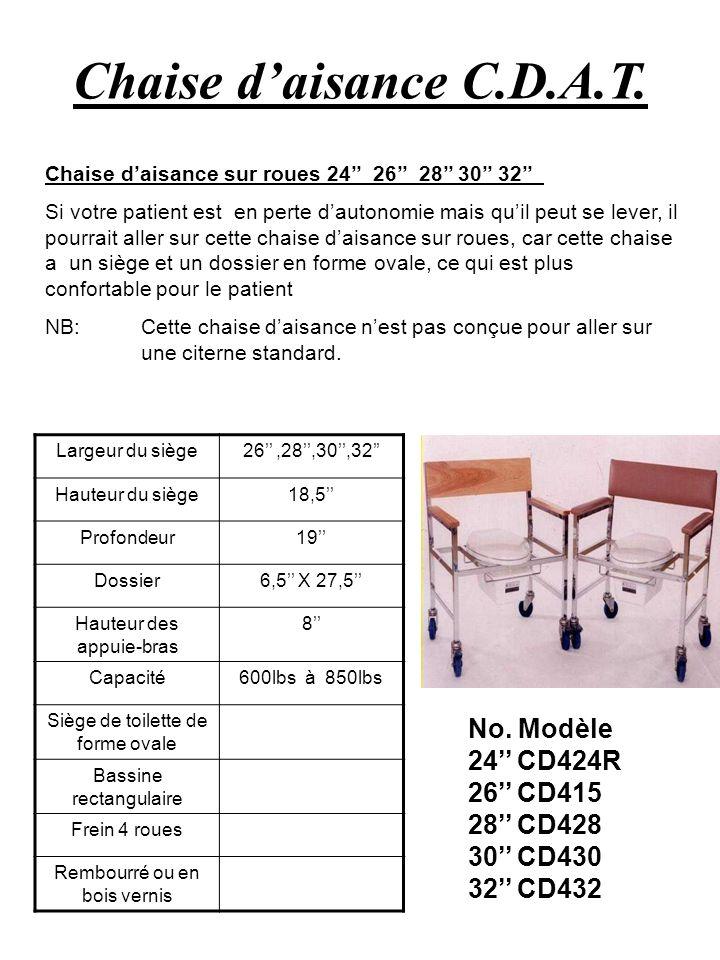 Chaise daisance C.D.A.T. No. Modèle 24 CD424R 26 CD415 28 CD428 30 CD430 32 CD432 Chaise daisance sur roues 24 26 28 30 32 Si votre patient est en per