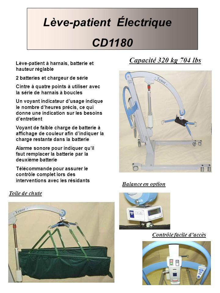 Capacité 320 kg 704 lbs Balance en option Contrôle facile daccès Lève-patient à harnais, batterie et hauteur réglable 2 batteries et chargeur de série