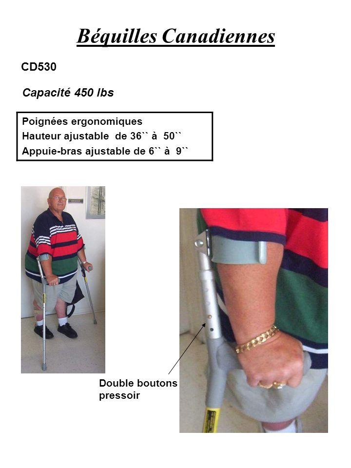 Béquilles Canadiennes Poignées ergonomiques Hauteur ajustable de 36`` à 50`` Appuie-bras ajustable de 6`` à 9`` Capacité 450 lbs CD530 Double boutons