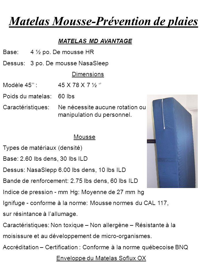 Matelas Mousse-Prévention de plaies MATELAS MD AVANTAGE Base:4 ½ po. De mousse HR Dessus:3 po. De mousse NasaSleep Dimensions Modèle 45 :45 X 78 X 7 ½