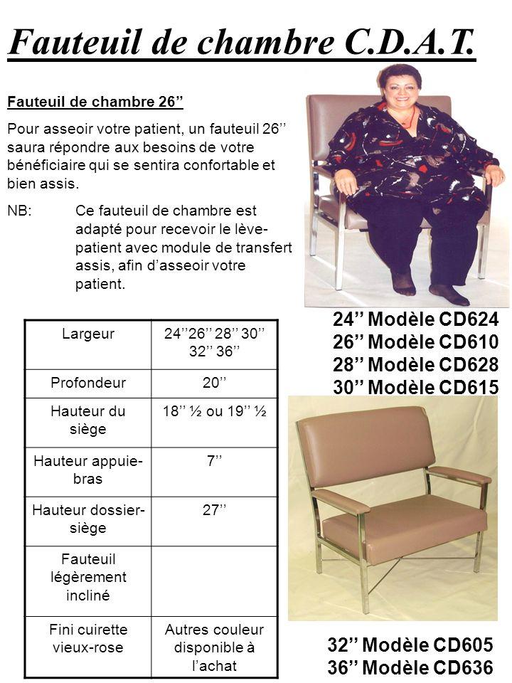 Fauteuil de chambre C.D.A.T. 24 Modèle CD624 26 Modèle CD610 28 Modèle CD628 30 Modèle CD615 Fauteuil de chambre 26 Pour asseoir votre patient, un fau