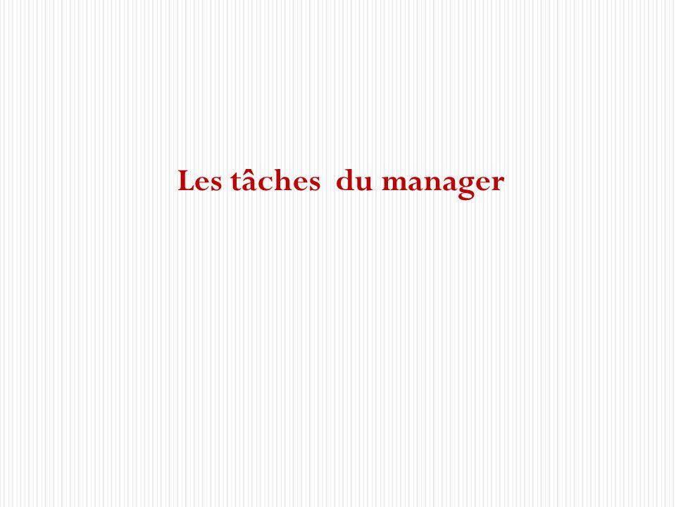 Les cinq domaines de management 4 Les tâches du manager