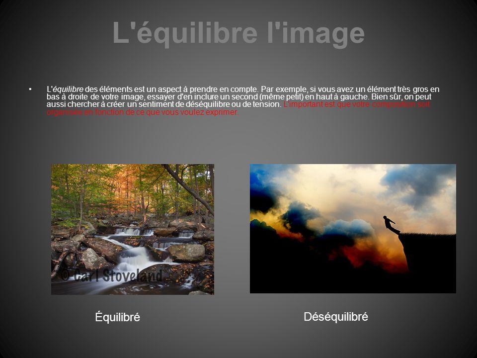 L'équilibre l'image L'équilibre des éléments est un aspect à prendre en compte. Par exemple, si vous avez un élément très gros en bas à droite de votr