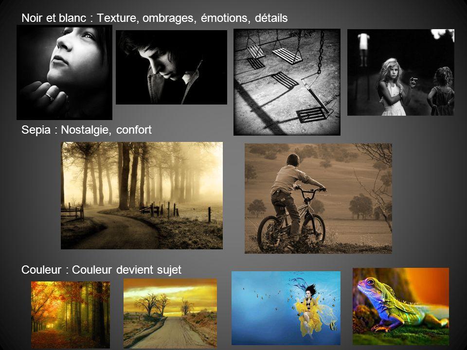 Noir et blanc : Texture, ombrages, émotions, détails Sepia : Nostalgie, confort Couleur : Couleur devient sujet