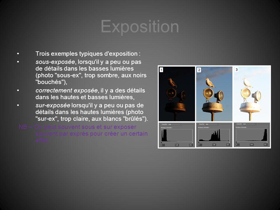 Exposition Trois exemples typiques d'exposition : sous-exposée, lorsqu'il y a peu ou pas de détails dans les basses lumières (photo