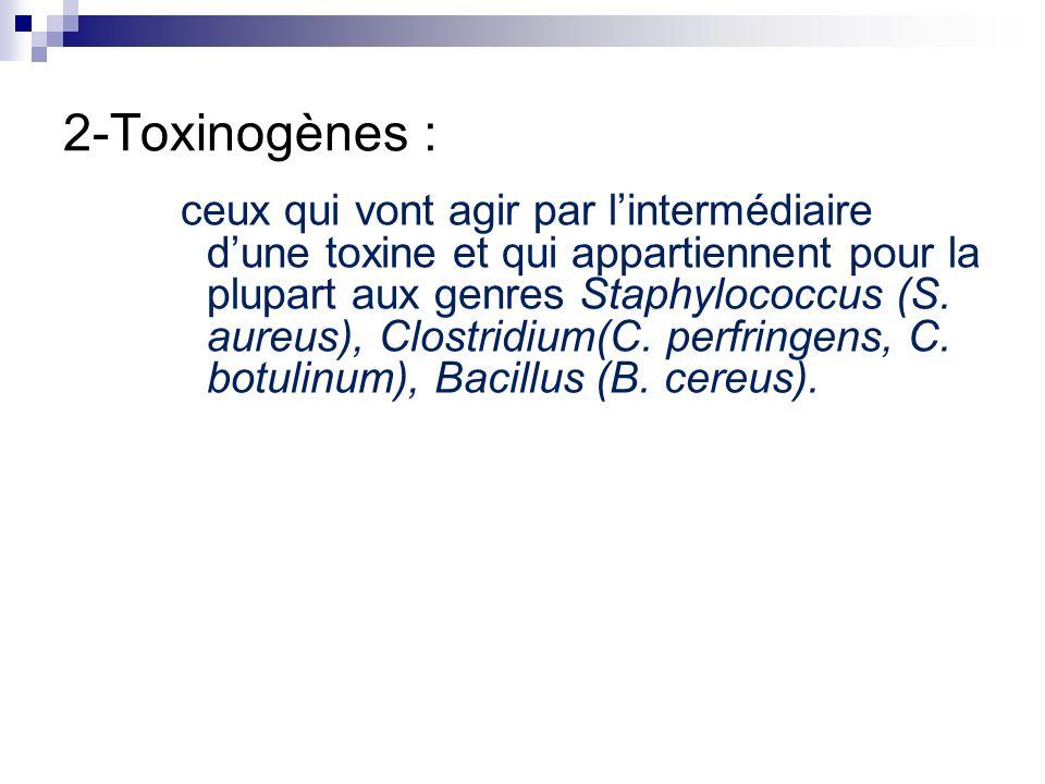 2-Toxinogènes : ceux qui vont agir par lintermédiaire dune toxine et qui appartiennent pour la plupart aux genres Staphylococcus (S. aureus), Clostrid