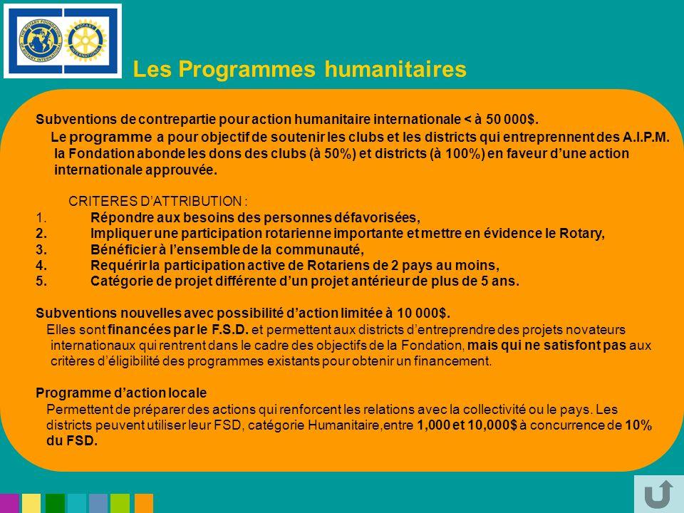 Les Programmes humanitaires Subventions de contrepartie pour action humanitaire internationale < à 50 000$. Le programme a pour objectif de soutenir l