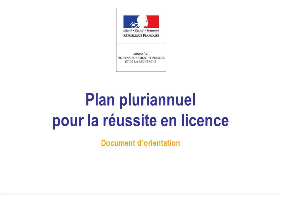 Plan pluriannuel pour la réussite en licence Document dorientation