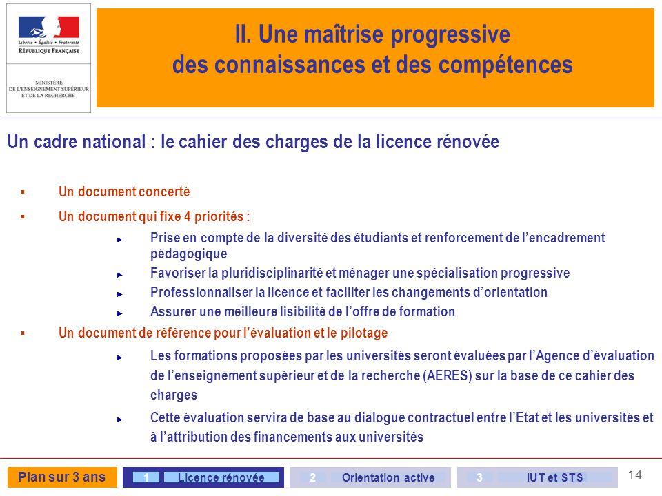 14 Un cadre national : le cahier des charges de la licence rénovée Un document concerté Un document qui fixe 4 priorités : Prise en compte de la diver