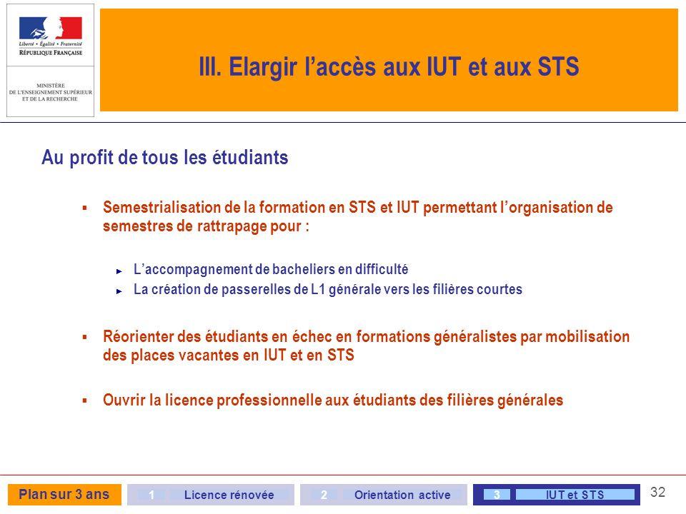 32 III. Elargir laccès aux IUT et aux STS Au profit de tous les étudiants Semestrialisation de la formation en STS et IUT permettant lorganisation de