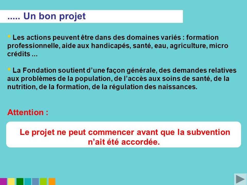 ..... Un bon projet Les actions peuvent être dans des domaines variés : formation professionnelle, aide aux handicapés, santé, eau, agriculture, micro