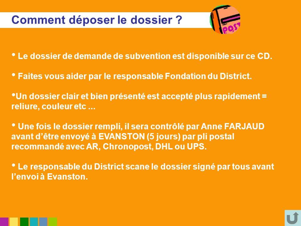 Comment déposer le dossier ? Le dossier de demande de subvention est disponible sur ce CD. Faites vous aider par le responsable Fondation du District.