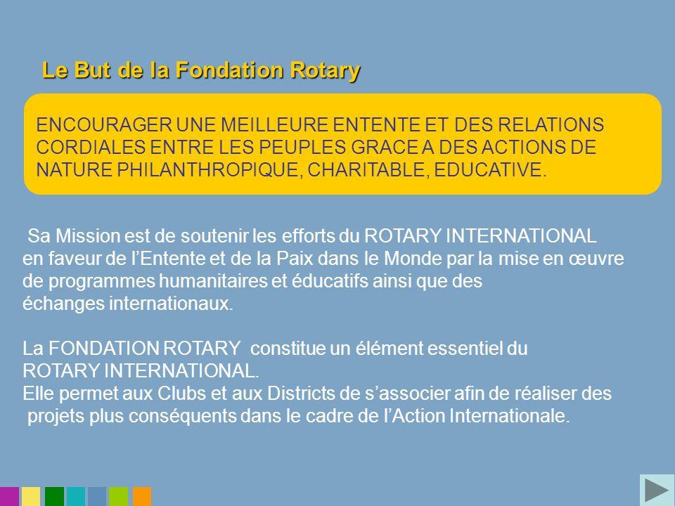 Le But de la Fondation Rotary Sa Mission est de soutenir les efforts du ROTARY INTERNATIONAL en faveur de lEntente et de la Paix dans le Monde par la