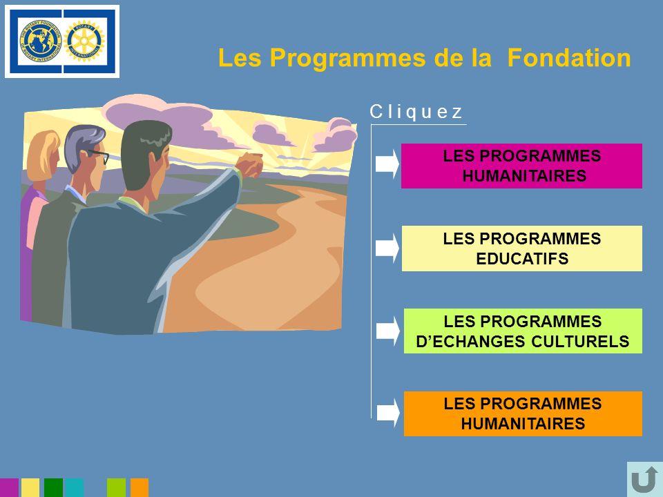 Les Programmes de la Fondation LES PROGRAMMES HUMANITAIRES LES PROGRAMMES EDUCATIFS LES PROGRAMMES DECHANGES CULTURELS LES PROGRAMMES HUMANITAIRES C l
