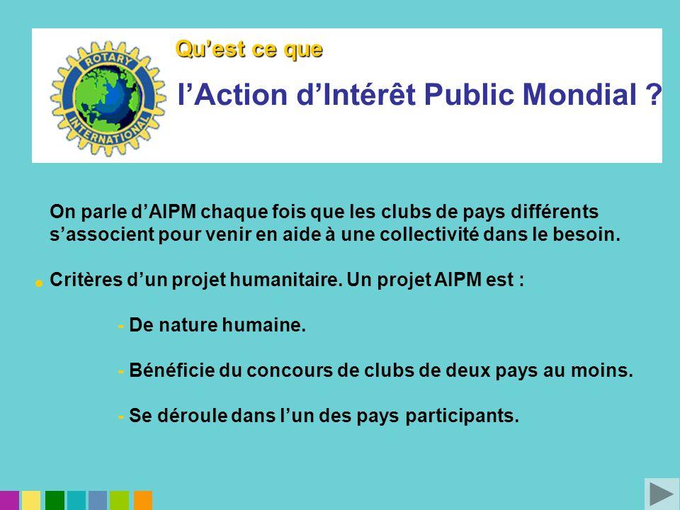 On parle dAIPM chaque fois que les clubs de pays différents sassocient pour venir en aide à une collectivité dans le besoin. Critères dun projet human