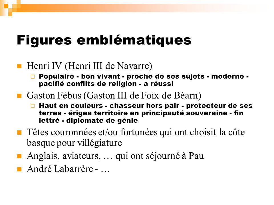 Figures emblématiques Henri IV (Henri III de Navarre) Populaire - bon vivant - proche de ses sujets - moderne - pacifié conflits de religion - a réuss