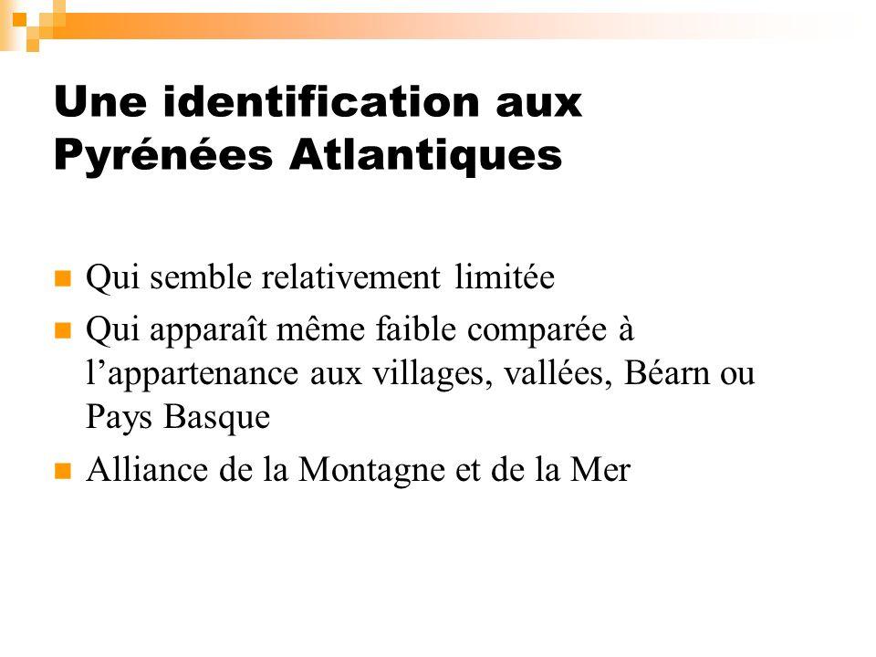 Une identification aux Pyrénées Atlantiques Qui semble relativement limitée Qui apparaît même faible comparée à lappartenance aux villages, vallées, B